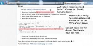 Bukkit herunterladen und per FTP auf den Gameserver laden - Startbefehl kopieren